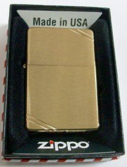 画像1: #240 1937モデル Vintage Brushed Brass 両面ライン ZIPPO!新品