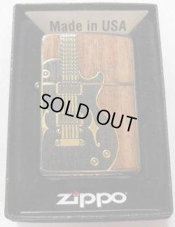 画像1: 渋い!エレキギター WOOD & 真鍮古美 両面デザイン ZIPPO!新品