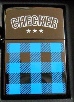 画像1: ☆ CHECKER!ブルー・チェッカー 三角カン&ホルダー付 2002年 ZIPPO!新品