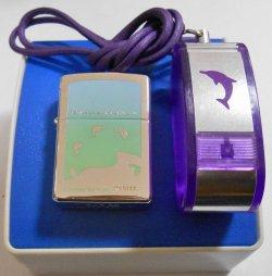 画像1: イルカ!DOLPHIN 限定セット!ドルフィン携帯灰皿付 2001年 ZIPPO!新品B