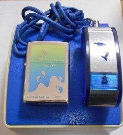 画像1: イルカ!DOLPHIN 限定セット!ドルフィン携帯灰皿付 2001年 ZIPPO!新品C