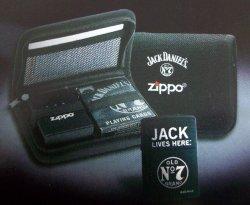 画像1: ☆豪華セット!ジャック・ダニエル JACK DANIEL'S ZIPPO & BICYCLE トランプ & ポーチ!新品